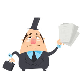 Cartoon serious man in black costume holding papers with signatu