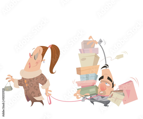 Cartoon couple shopping woman having husband with lash carrying
