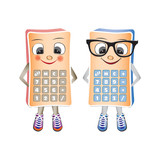 Simpatic calculator mascote, male and female, isolated on the wh