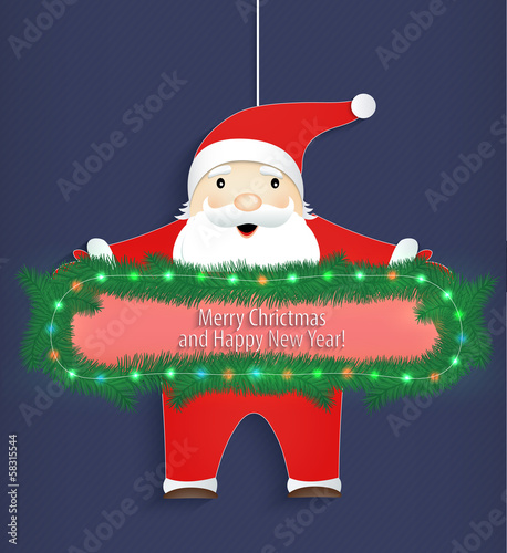 Christmas card. Santa Claus with a congratulation