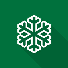 Snowflake icon with long shadow on green background