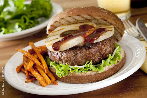 grilled pineapple burger with teriyaki sauce