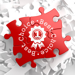 Best Choice Concept on Red Puzzle.