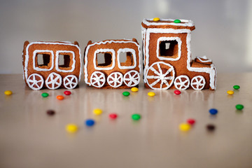 Christmas train made of gingerbread