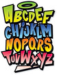 Funky colorful cartoon font type. Vector alphabet