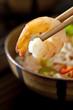 Closeup of a shrimp Thai noodle soup.