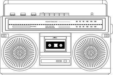 Vintage cassette recorder, ghetto blaster or boombox. vector