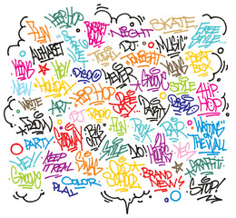Multiple urban art and graffiti tags, slogans. Vector