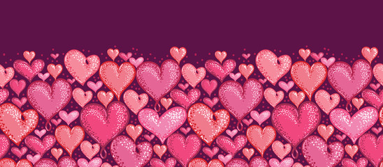 Vector Red Valentine's Day Hearts Horizontal Seamless Pattern