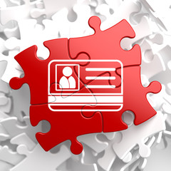 ID Card Icon on Red Puzzle.