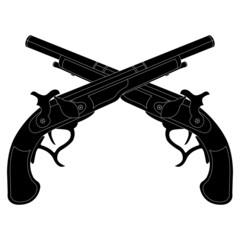 Crossed pistols silhouettes