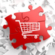 Shopping Cart Icon on Red Puzzle.