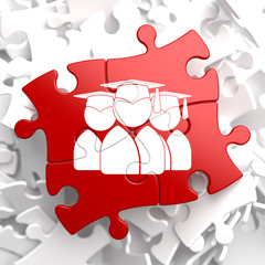 Group of Graduates Icon on Red Puzzle.