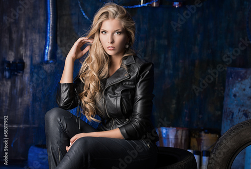 girl in leather clothes