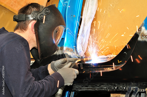 Car body welding.