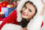 Portrait of smiling lady in Santa outfit
