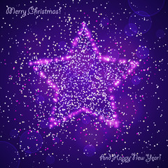 bright violet christmas card with star