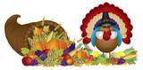 Cornucopia with Bountiful Harvest and Pilgrim Turkey poster