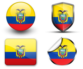 Ecuador flag button sticker and badge