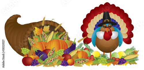 Cornucopia with Bountiful Harvest and Pilgrim Turkey