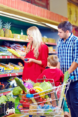 family shopping in grocery market