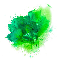 green spot blot watercolors isolated