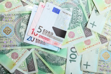 Economy finance. Polish and euro banknote for background