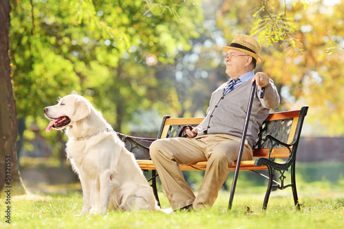 Senior gentleman sitting on bench with his dog and relaxing