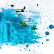 abstract blue blot watercolor texture patch on white background