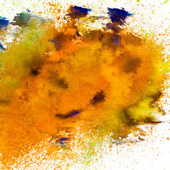 yellow spot blotch watercolor background isolated on white backg