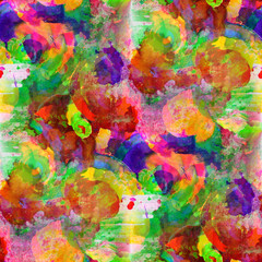 seamless painting red yellow orange green blue watercolor with b