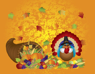 Thanksgiving Day Feast Cornucopia Turkey Pilgrim with Background