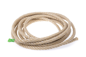 A roll of sturdy rope material. Twisted into a circle.