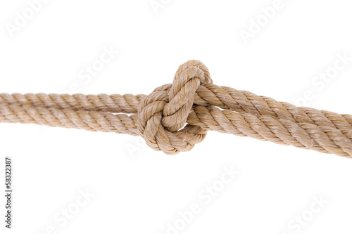 Knot tied on two ropes. For compound.