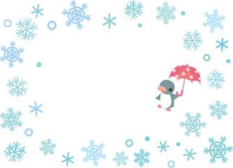 雪の結晶とペンギンのフレーム