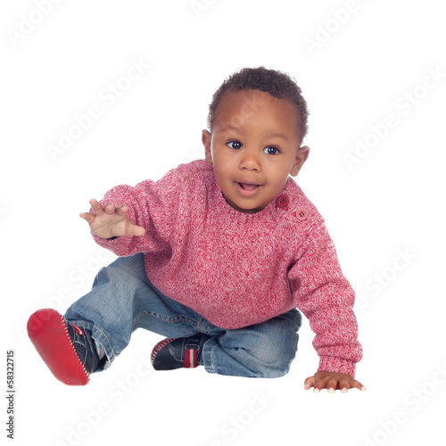 Beautiful African American baby crawling