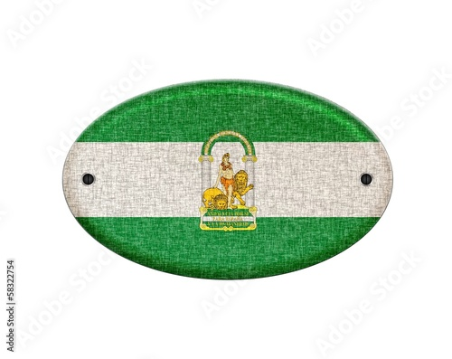 Wooden Andalusia flag.