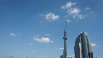 東京スカイツリー 青空に流れる雲 インターバル撮影