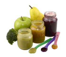 Three baby food jars with fruit and broccoli