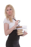 Beautiful young woman with stack of books isolated