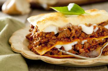 Closeup of a slice of freshly baked lasagna.
