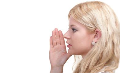 blonde woman gossipgirl whispering isolated