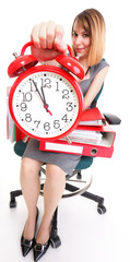 Businesswoman with red clock- work time concept