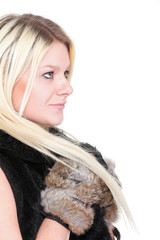 Portrait of attractive woman with fur isolated