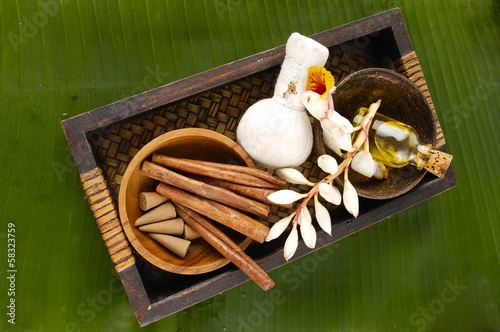 Banana leaf background- tropical spa