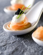 three caviar and smoked salmon gourmet appetizers