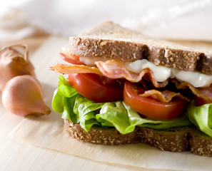 Closeup of bacon, lettuce and tomato sandwich.