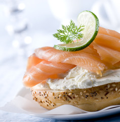 Bagel with fresh smoked salmon and cream cheese.