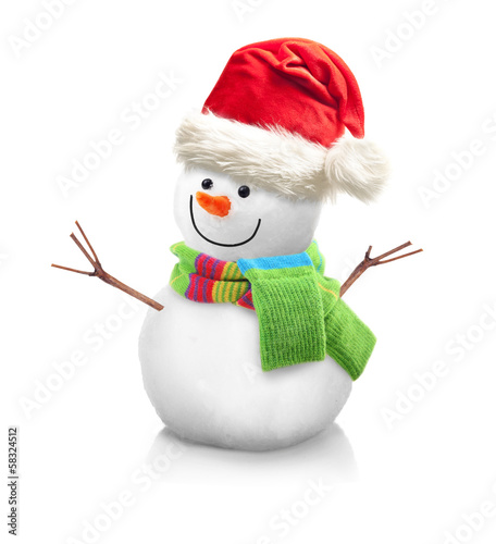 Snowman in Santa Claus xmas red hat isolated on white