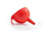 red Plastic Funnel isolated on white background